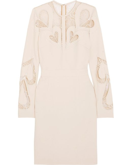 Elie Saab | White Lace-paneled Crepe Dress | Lyst