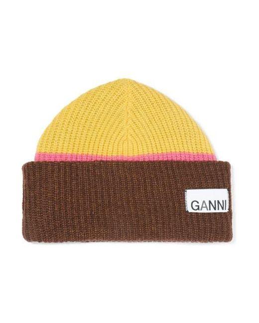 Ganni Multicolor Beanie Aus Einer Gerippten Wollmischung In Colour-block-optik
