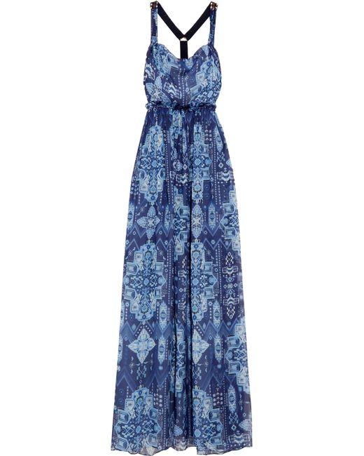 Matthew Williamson | Blue Inca Jewel Embellished Printed Silk-chiffon Gown | Lyst