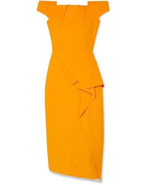 Roland Mouret Orange Arch Off-the-shoulder Draped Crepe Midi Dress