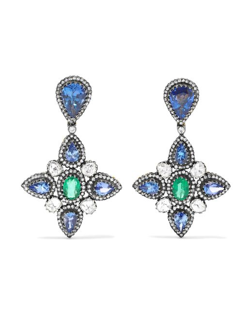 Amrapali - Blue 18-karat Gold, Sterling Silver And Multi-stone Earrings - Lyst