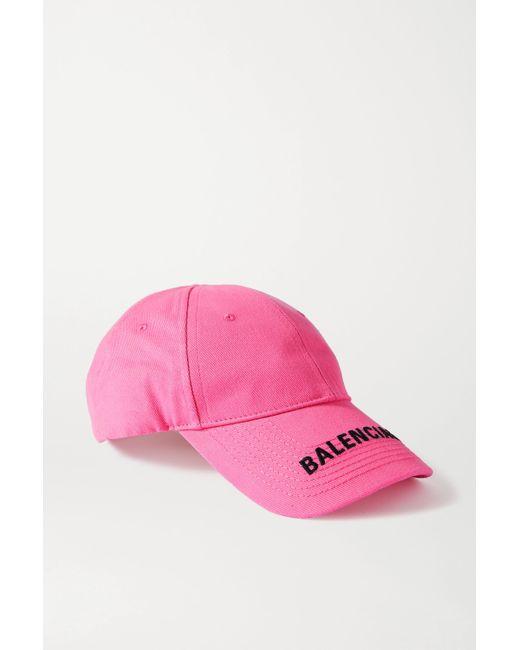 Balenciaga Pink Embroidered Cotton-twill Baseball Cap