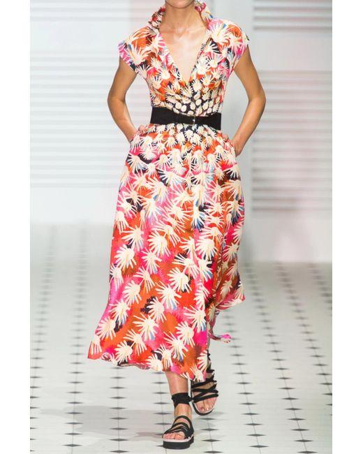 Garden Cacti Floral-print Silk-satin Midi Dress - Red Temperley London Discount Amazon Sale Big Sale tZvL2i