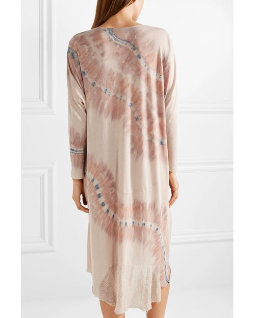 Oversized Tie-dyed Cotton-blend Jersey Dress - Neutral Raquel Allegra Free Shipping With Paypal Order Cheap Price Buy Cheap Online QE5y4