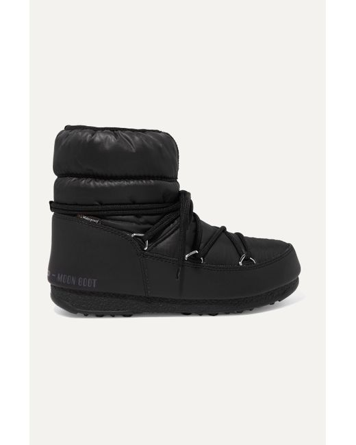 Moon Boot Black Shell And Faux Leather Snow Boots