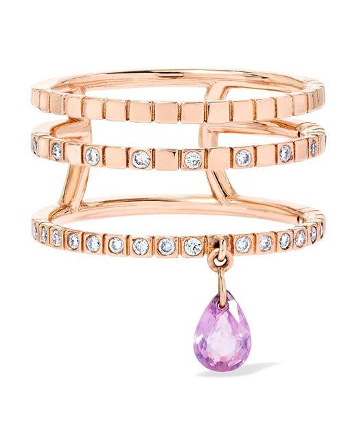 Diane Kordas - Metallic Triple 18-karat Rose Gold, Sapphire And Diamond Ring - Lyst