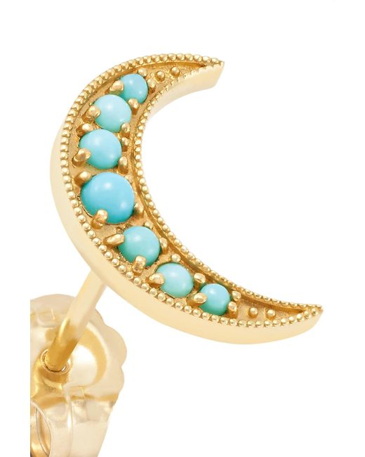 Andrea Fohrman Crescent Moon 18-karat Gold Turquoise Earrings OveXICZY