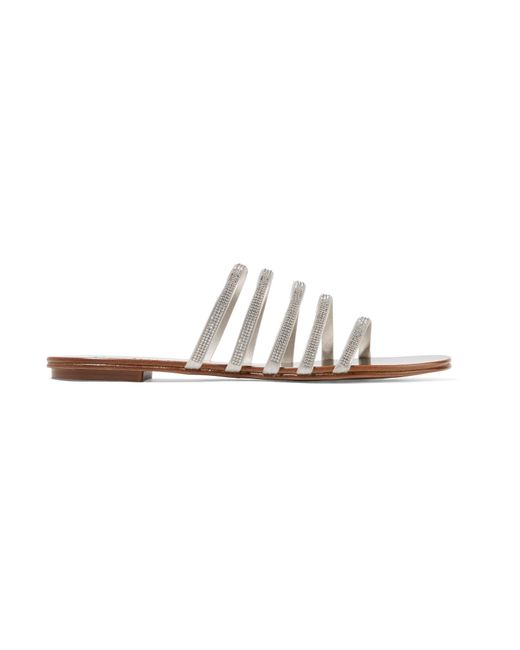Pedro Garcia - Sarah Swarovski Crystal-embellished Satin And Metallic Leather Sandals - Lyst