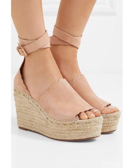 53cad55c9e ... Chloé - Natural Lauren Scalloped Suede Espadrille Wedge Sandals - Lyst  ...
