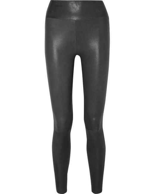 SPRWMN - Gray Leather Leggings - Lyst