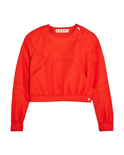 Marni | Red Cropped Twill Top | Lyst
