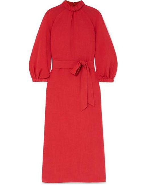 Robe Midi En Voile À Ceinture Cefinn en coloris Red