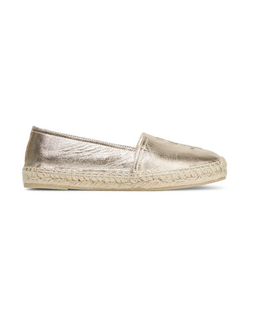 Saint Laurent | Embossed Metallic Leather Espadrille | Lyst