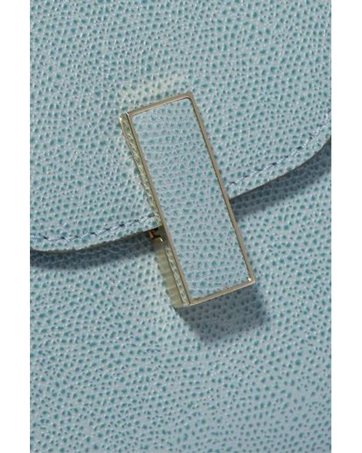 Valextra Blue Iside Mini Tote Aus Strukturiertem Leder