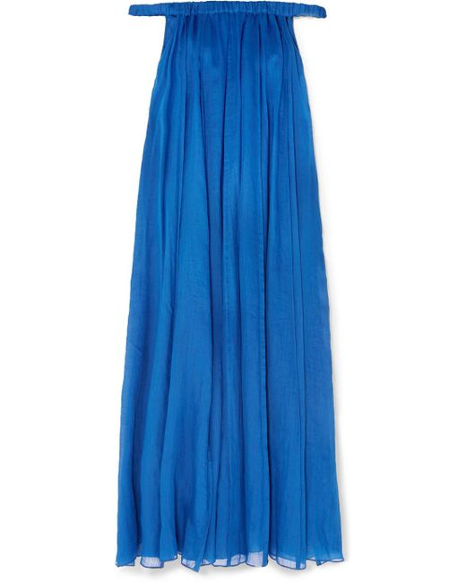 Three Graces London - Blue Evangeline Off-the-shoulder Ramie Maxi Dress - Lyst