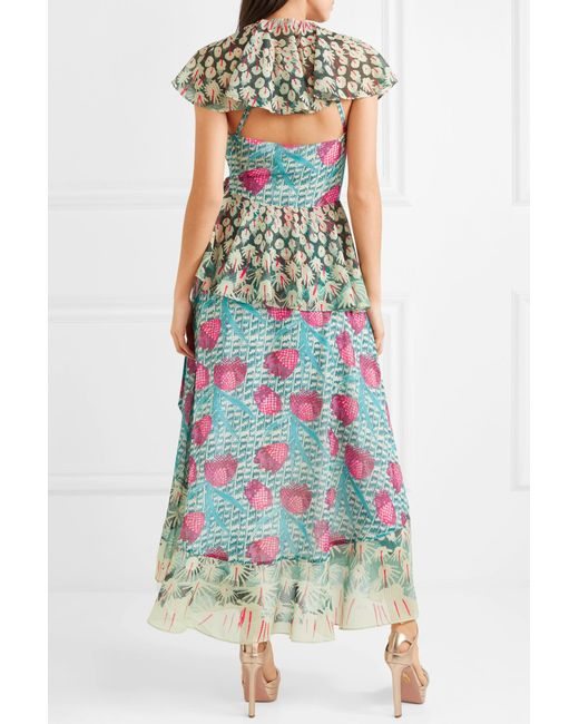 Outlet Manchester Great Sale Ruffled Printed Voile Wrap Dress - Turquoise Temperley London Big Discount Sale Online TgrPSd