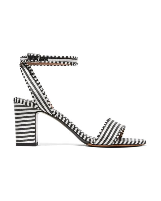 Tabitha Simmons - Black Leticia Striped Canvas Sandals - Lyst