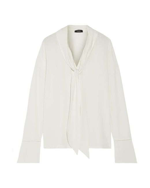 Theory | White Pussy-bow Silk Crepe De Chine Blouse | Lyst
