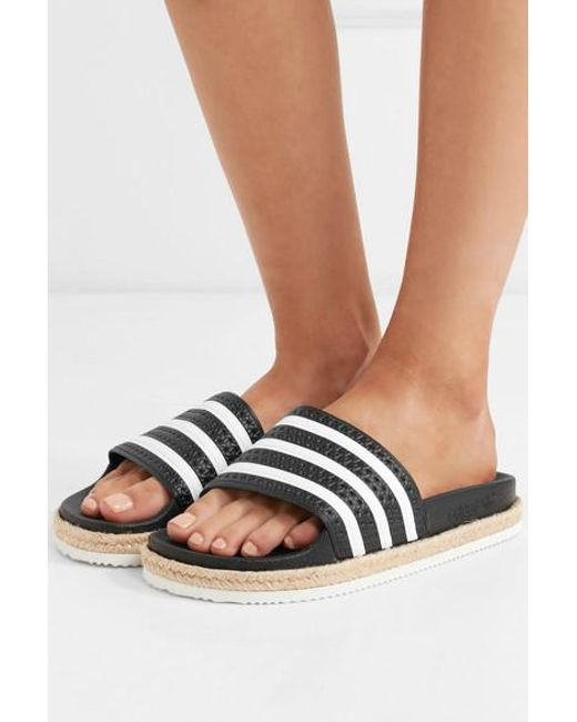 fa87a649762c3 adidas Originals Adilette Bold Rope-trimmed Striped Rubber Slides in ...