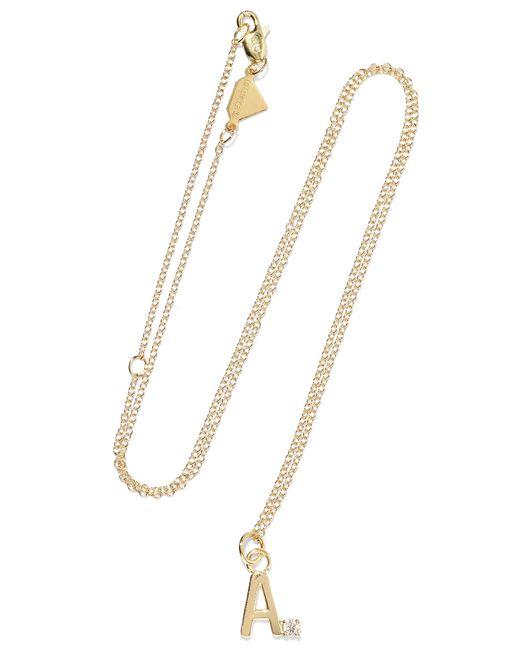 Alison Lou - Metallic Letter 14-karat Gold Diamond Necklace Gold V - Lyst