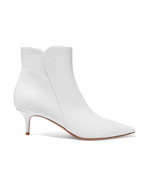 Gianvito Rossi - White Levy 55 Leather Ankle Boots - Lyst