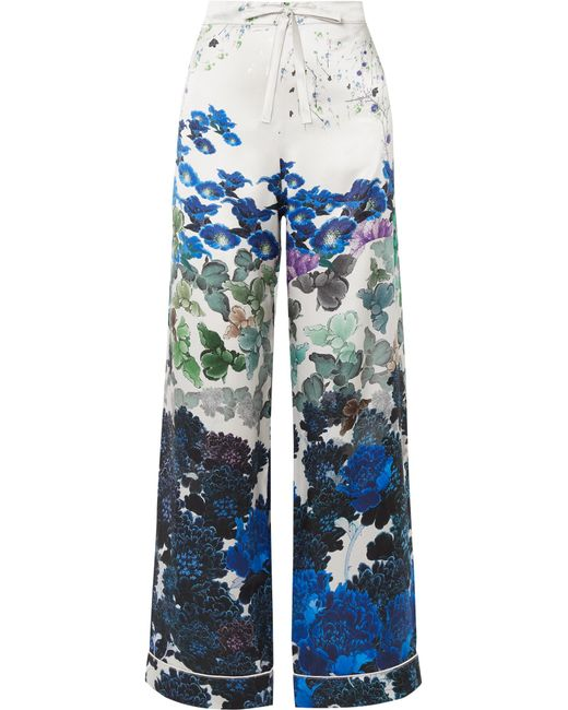 Meng - Blue Printed Silk-satin Pajama Pants - Lyst