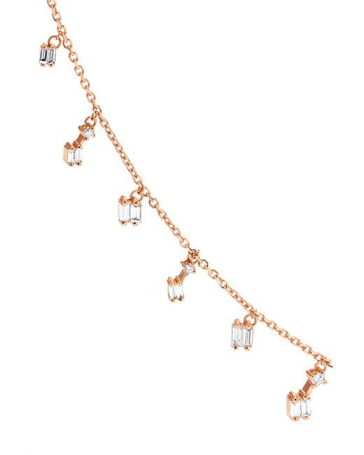 8482525b12 ... Suzanne Kalan - Metallic 18-karat Rose Gold Diamond Necklace - Lyst ...
