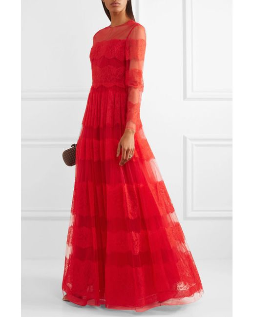 Lyst - Valentino Paneled Chantilly Lace And Tulle Gown in Red