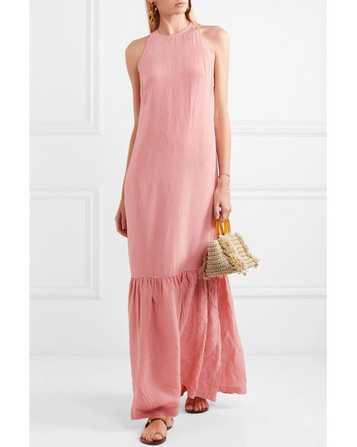 Ogygia Tiered Satin Maxi Dress - Pink Marios Schwab XhYlQ2sWL
