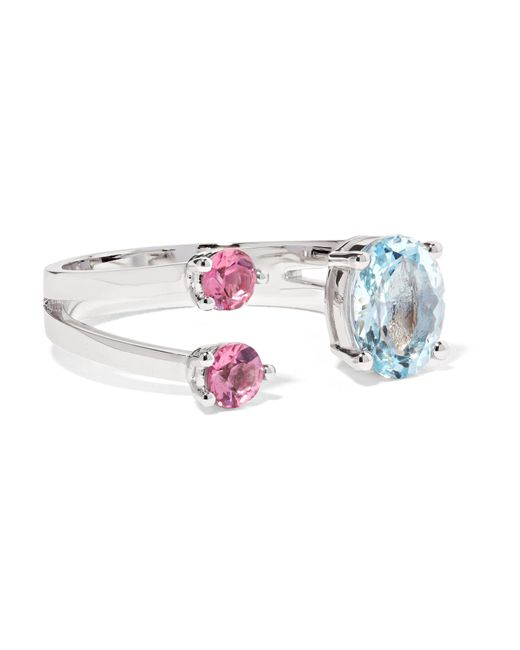 Delfina Delettrez | Metallic 18-karat White Gold, Aquamarine And Tourmaline Ring | Lyst