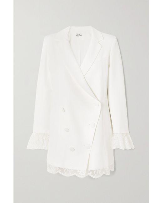 Rime Arodaky White Lui Lace-trimmed Crepe Mini Dress