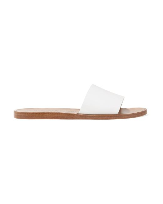 Common Projects - White Leather Slides - Lyst