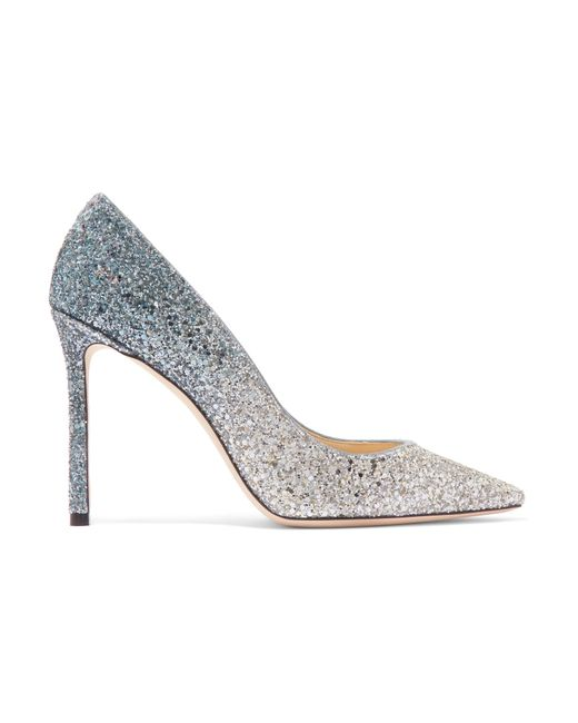 Jimmy Choo - Metallic Romy 100 Dégradé Glittered Suede Pumps - Lyst