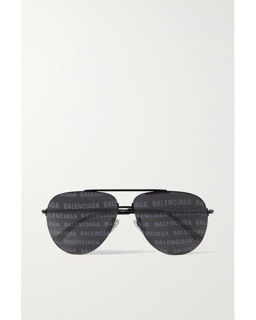 Balenciaga Black Aviator-style Metal Sunglasses