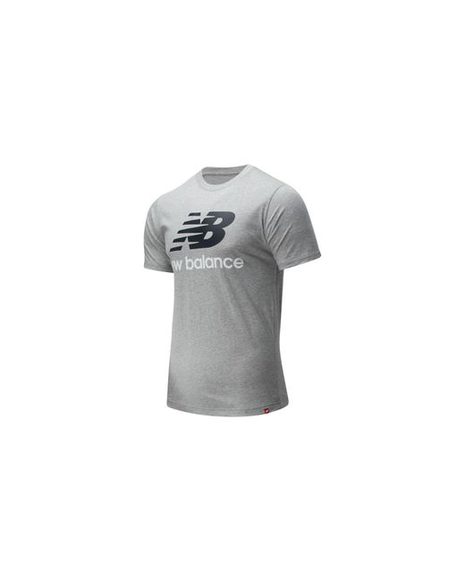 New Balance Herren Essentials Stacked Logo T-Shirt in Gray für Herren