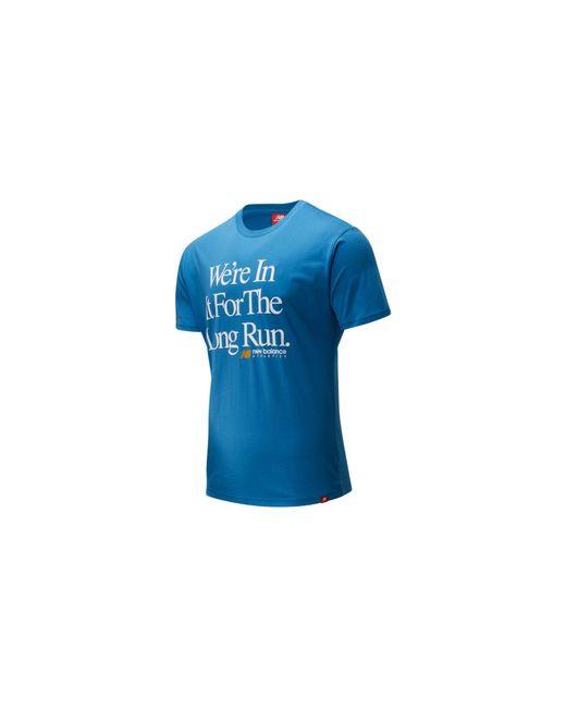 Homme T-Shirt Essentials Icon Long Run New Balance pour homme en coloris Blue