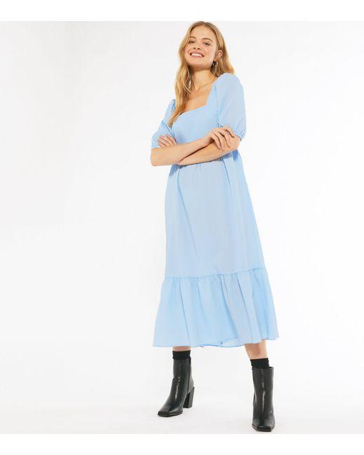 New Look Pale Blue Crinkle Smock Midi Dress