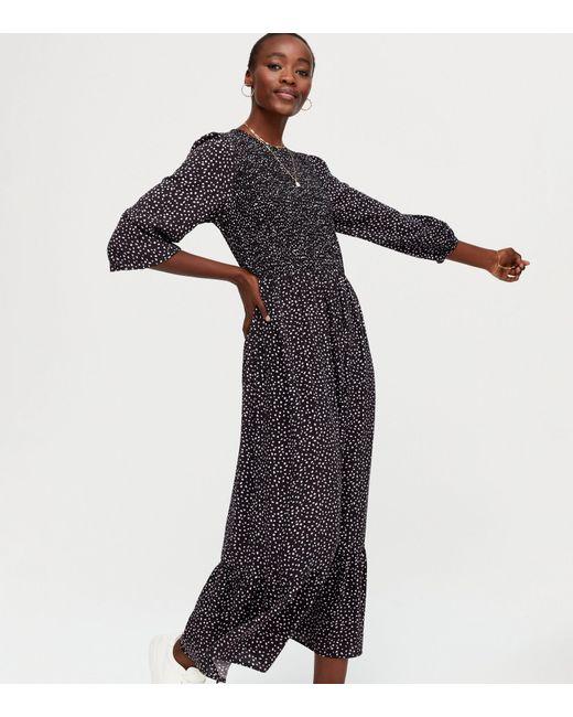 New Look Tall Black Spot Long Sleeve Smock Midi Dress