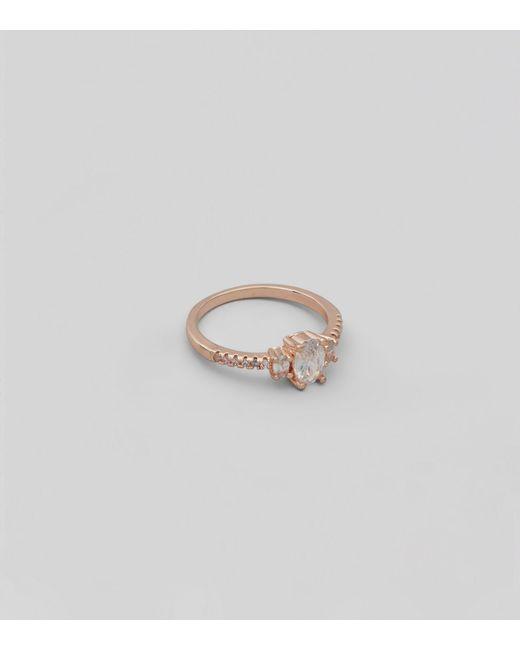 New Look - Metallic Rose Gold Cubic Zirconia Ring - Lyst