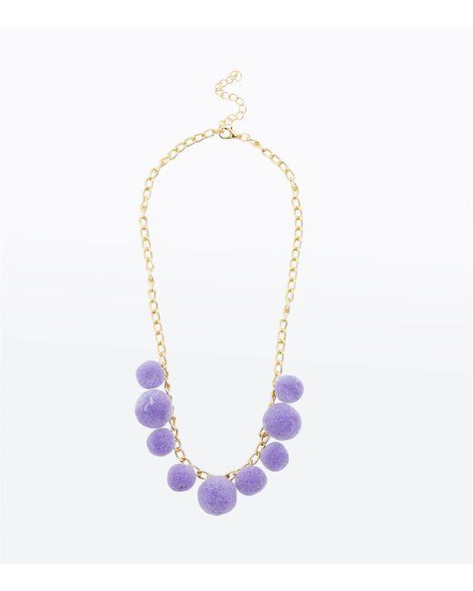 New Look - Purple Lilac Pom Pom Necklace - Lyst