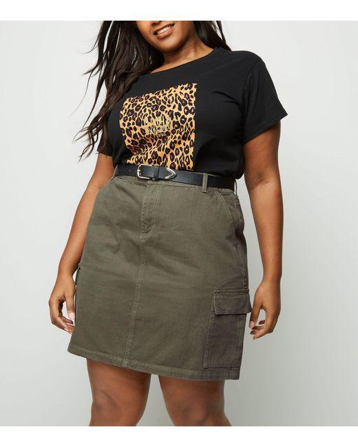 f5e91de06847a New Look Curves Khaki Utility Denim Skirt in Natural - Lyst