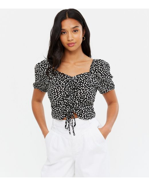 New Look Petite Black Ditsy Floral Ruched Tie Front Crop Top