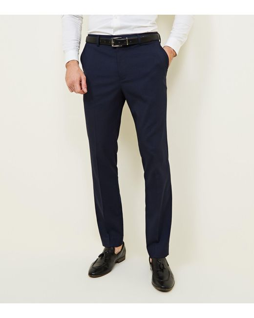 aa6e043c6bea New Look Navy Slim Fit Trousers in Blue for Men - Lyst