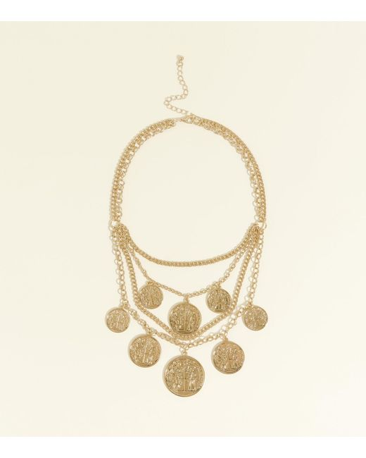 New Look - Metallic Gold Layered Coin Pendant Necklace - Lyst