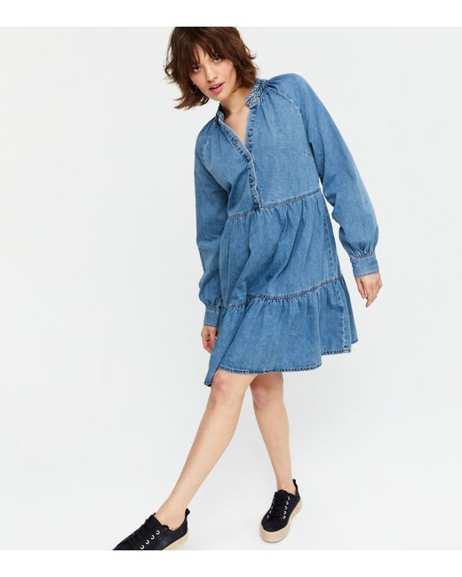 New Look Blue Denim Tiered Button Up Smock Dress