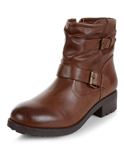 new look brown buckle ankle boots in brown lyst