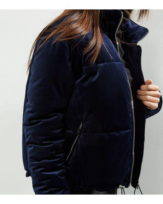 New Look Navy Velvet Puffer Jacket In Blue Save 8 Lyst