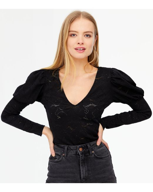 Urban Bliss Black Lace Puff Sleeve Bodysuit