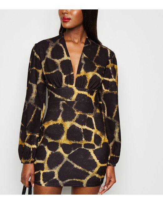 Missfiga Black Multicoloured Animal Print Plunge Dress