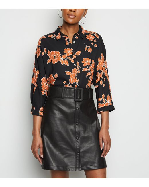 New Look Black Coated Leather-look Belted Mini Skirt